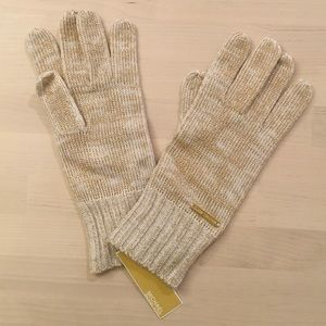 Michael Kors Gold Shimmer Knit Gloves